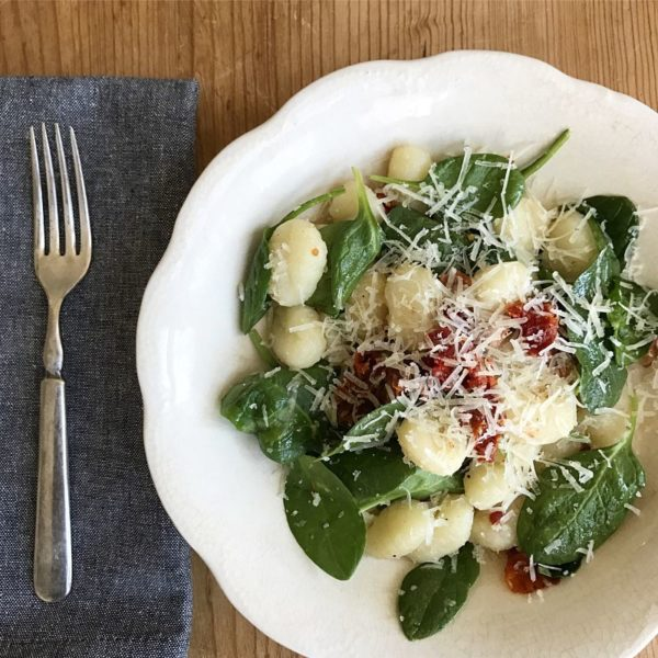 Easy Gnocchi Sun Dried Tomatoes Spinach and Bacon