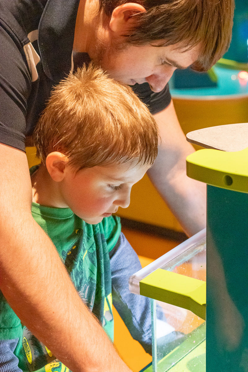 father and son at plano crayola experience